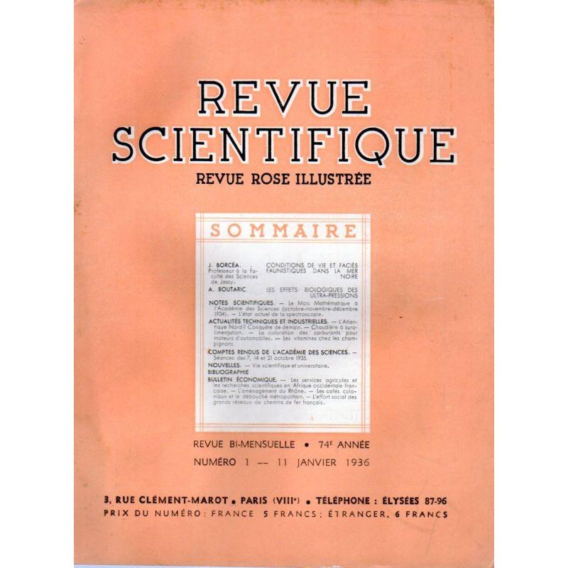 Revue Scientifique n° 1 - 74éme année - 11 janvier 1936