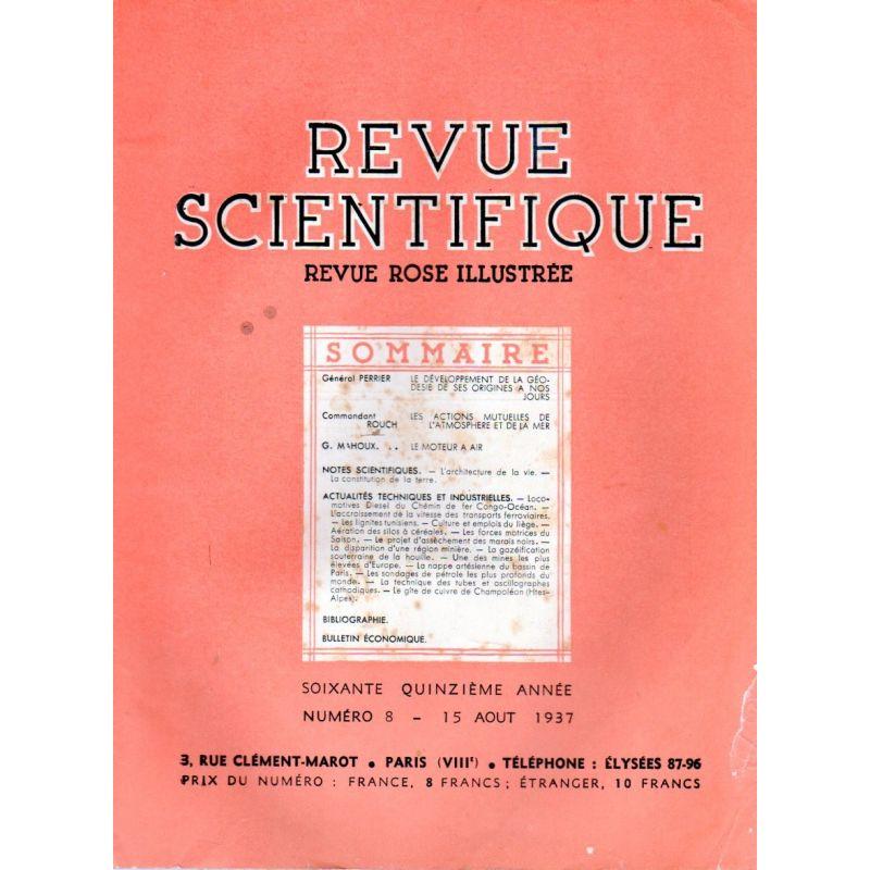 Revue Scientifique n° 8 - 75éme année - 15 aout 1937