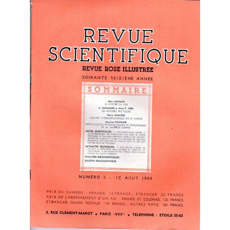 Revue Scientifique n° 8 - 76éme année - 15 aout 1938