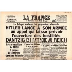 1er septembre 1939 - La France (2 pages) - Hitler lance un appel à son armée, Dantzig est rattaché au Reich