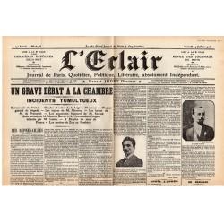 14 juillet 1906 - L'Éclair (2 pages) - Procès Dreyfuss, Un grave débat à la Chambre