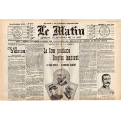 13 juillet 1906 - Le Matin (2 pages) - La Cour proclame Dreyfus innocent, le Sénat manifeste, les Ministres délibérent