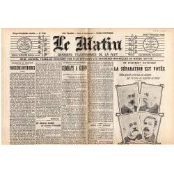 7 décembre 1905 - Le Matin (2 pages) - La Séparation de l'Église et de l'État est votée