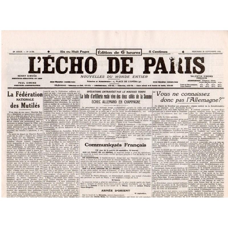 20 septembre 1916 - L'Echo de Paris (4 pages)