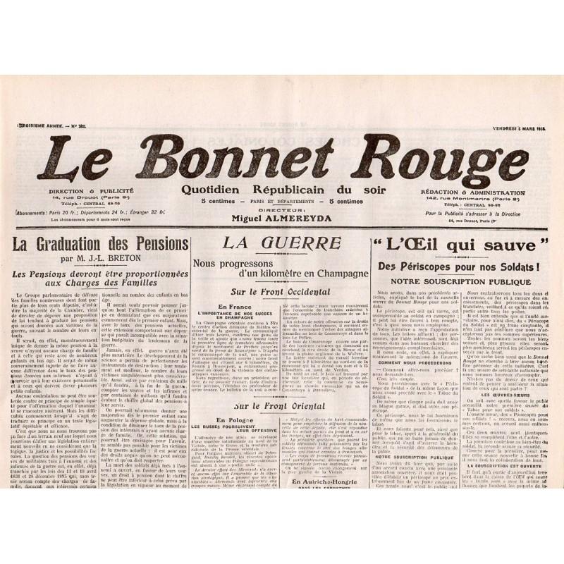 5 mars 1916 - Le Bonnet Rouge (2 pages)