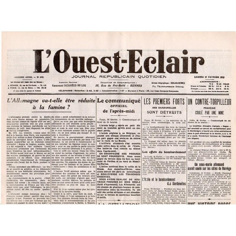 27 février 1915 - L'Ouest-Eclair (4 pages)