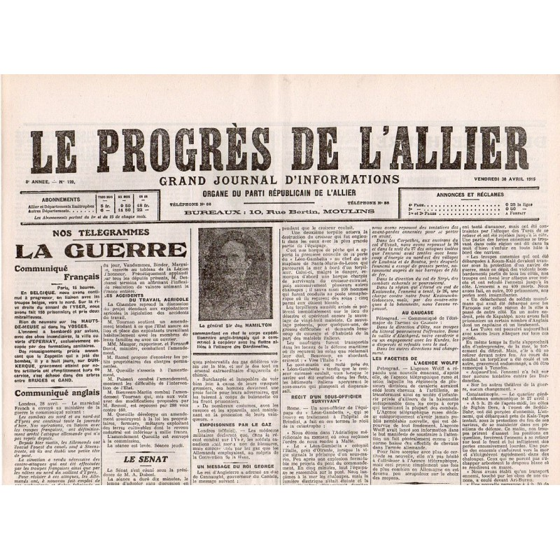 30 avril 1915 - Le Progrès de l'Allier (4 pages)
