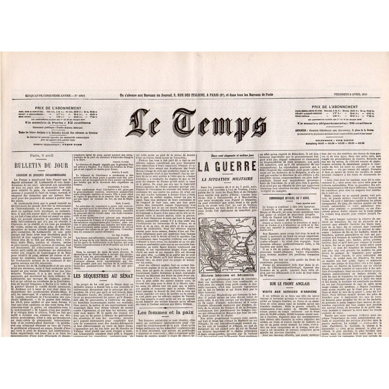 9 avril 1915 - Le Temps (4 pages)