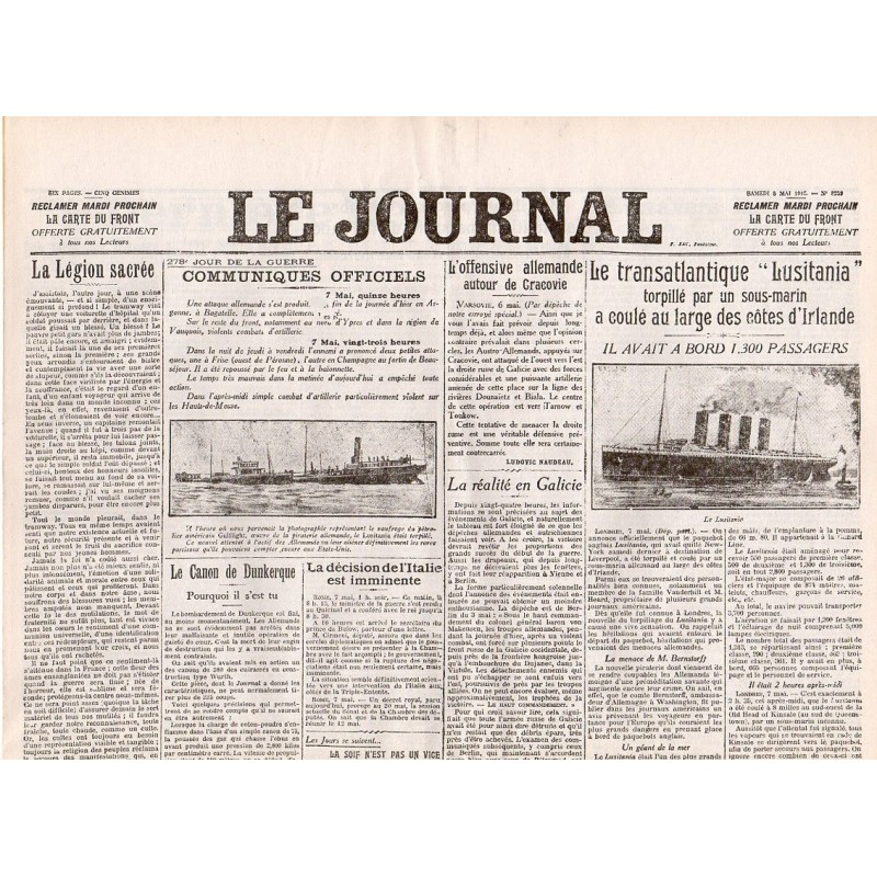 8 mai 1915 - Le Journal (6 pages)