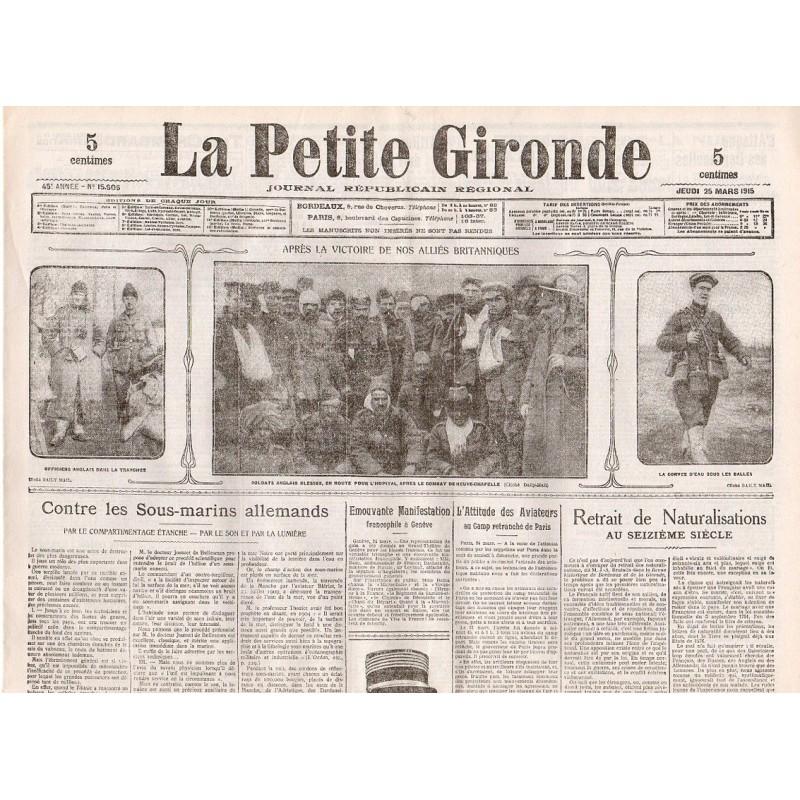 25 mars 1915 - La Petite Gironde (4 pages)