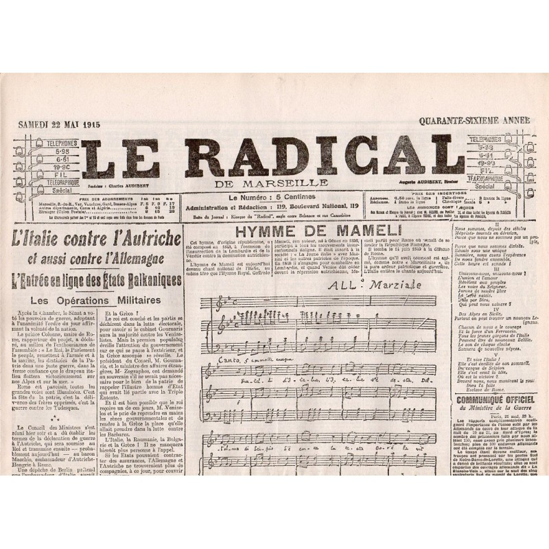 22 mai 1915 - Le Radical de Marseille (4 pages)