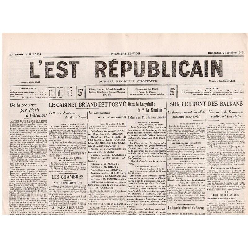 31 octobre 1915 - L'Est Républicain (4 pages)