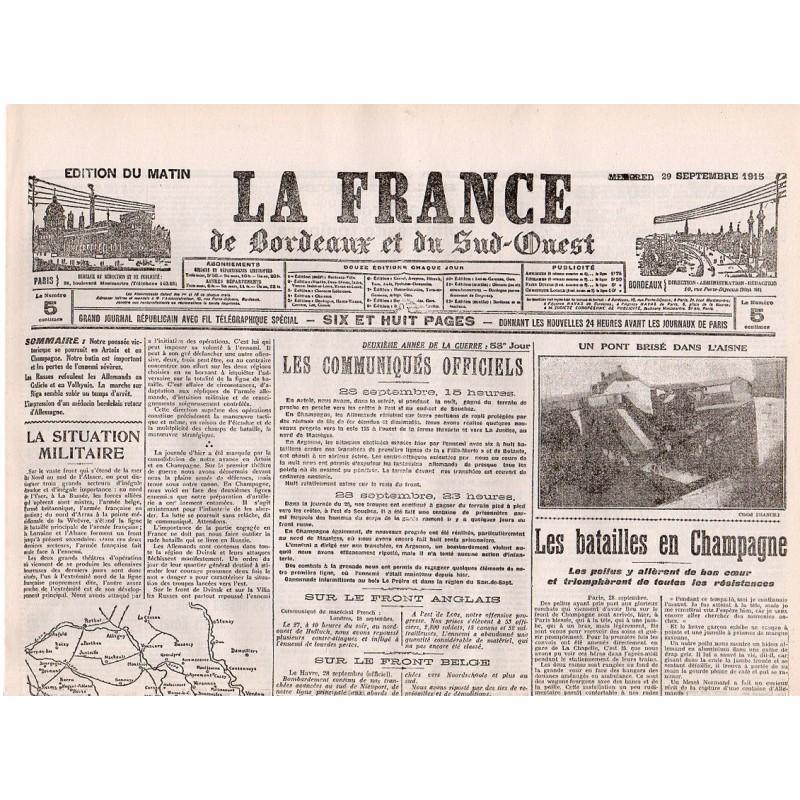29 septembre 1915 - La France de Bordeaux et du Sud-Ouest (4 pages)