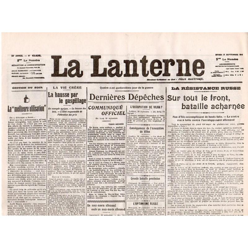21 septembre 1915 - La Lanterne (2 pages)