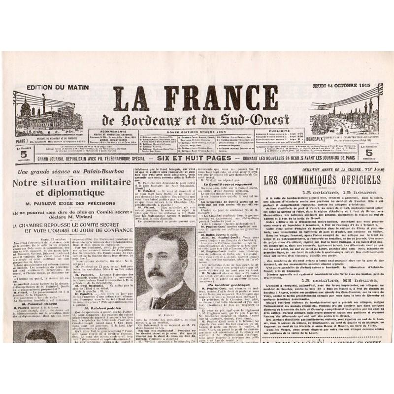 14 octobre 1915 - La France de Bordeaux et du Sud-Ouest (4 pages)