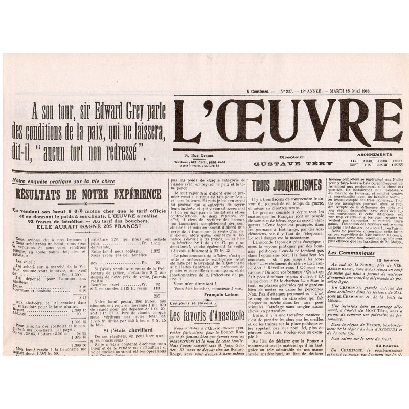 16 mai 1916 - L'Oeuvre (4 pages)