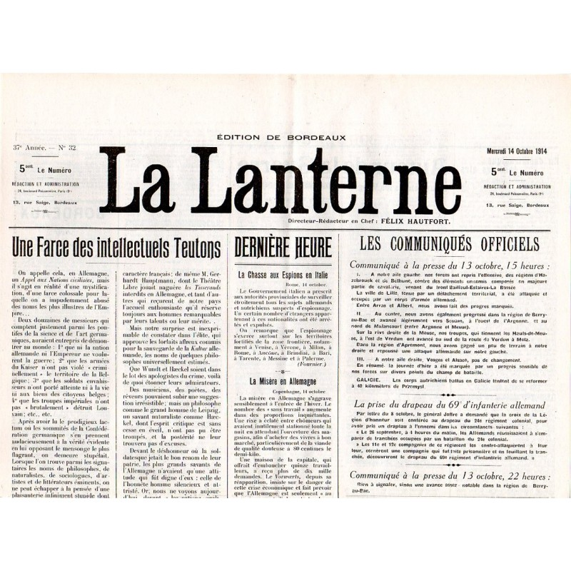 14 octobre 1914 - La Lanterne (2 pages)