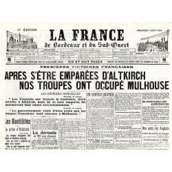 9 août 1914 - La France de Bordeaux et du Sud-Ouest (4 pages)