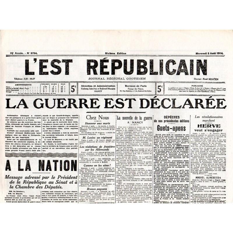 5 août 1914 - L'Est Républicain (4 pages)