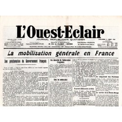 2 août 1914 - L'Ouest-Eclair (4 pages)