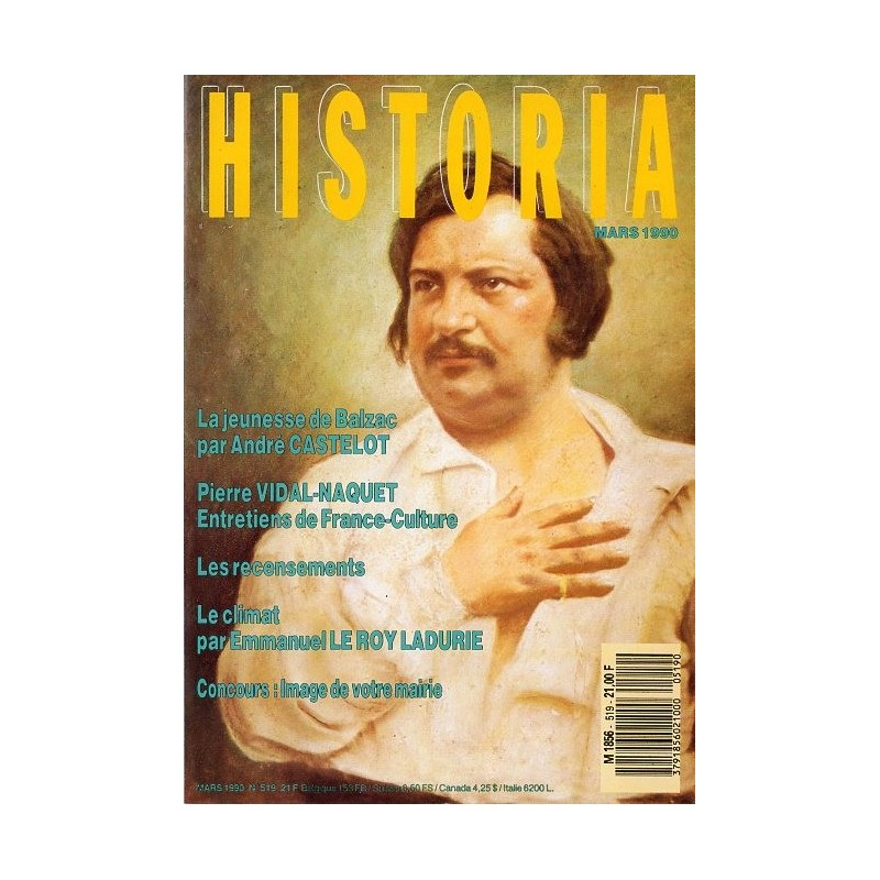 Historia n° 519 - La jeunesse de Balzac par André Castelot