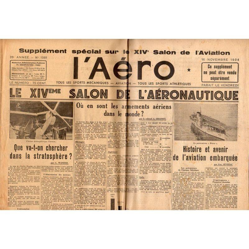 16 novembre 1934 - L'Aéro, supplément du XIVème Salon de l'aéronautique(10 pages)