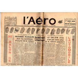 9 octobre 1936 - L'Aéro - 30ème Salon de l'Automobile