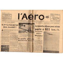 19 novembre 1937 - L'Aéro - Le record de vitesse pour avions porté à 611 km.-h