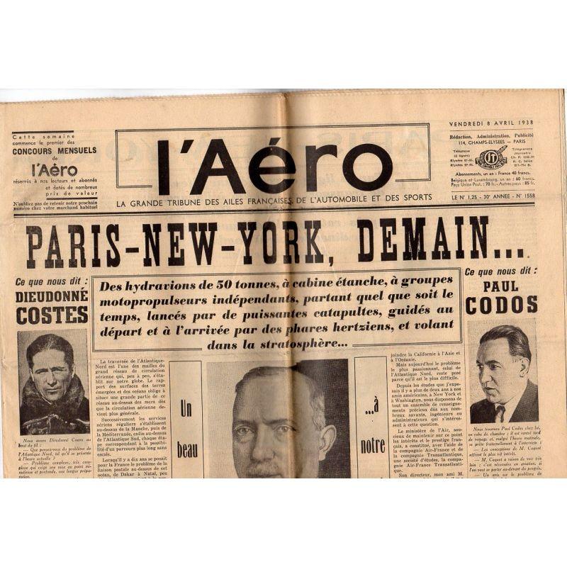 8 avril 1938 - L'Aéro - Paris-New York, demain...