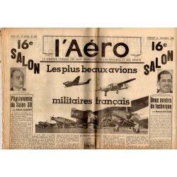 25 novembre 1938 - L'Aéro - 16ème salon : les plus beaux avions militaires français