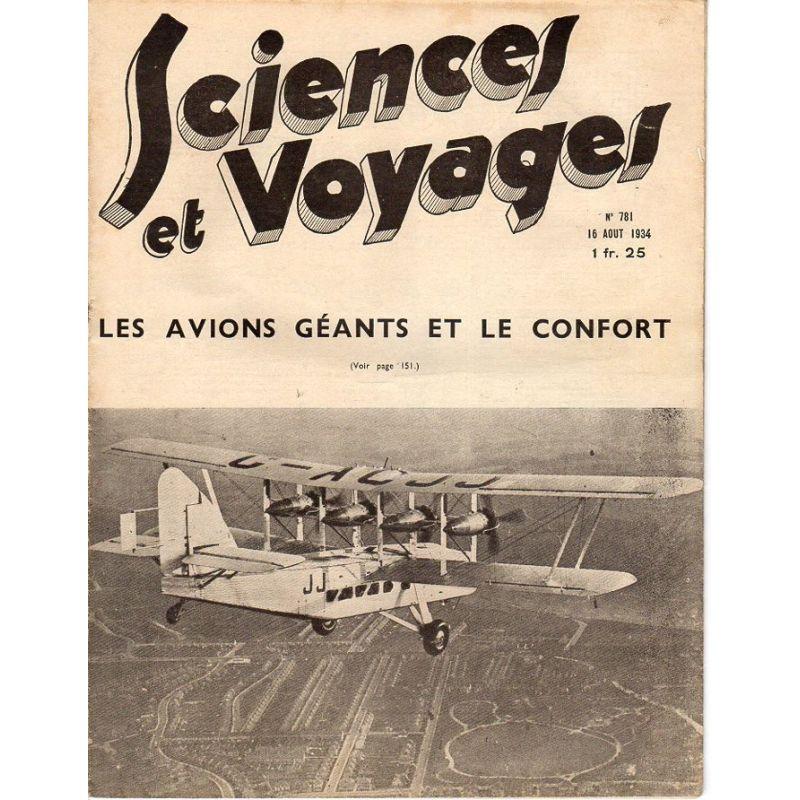 Sciences et Voyages n° 781 - 16 août 1934 - Les avions géants et le confort