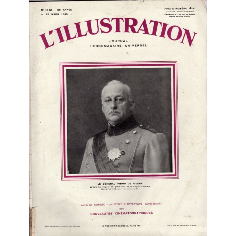 L'Illustration n° 4542 - 22 mars 1930 - Le Général Primo de Riviera