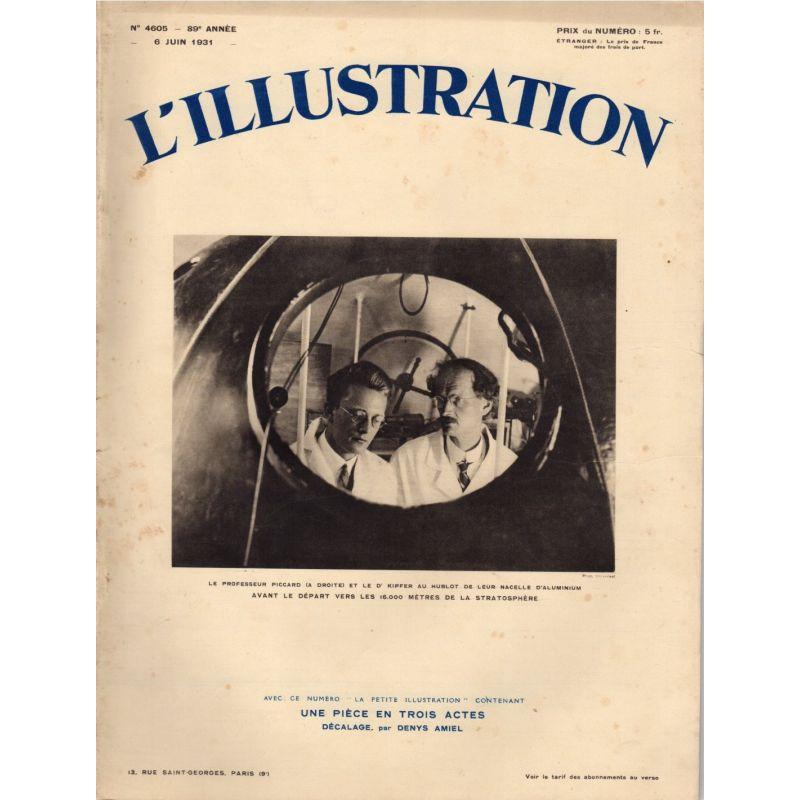L'Illustration n° 4605 - 6 juin 1931 - Le professeur Piccard et le Dr Kipfer au hublot de leur nacelle d'aluminium