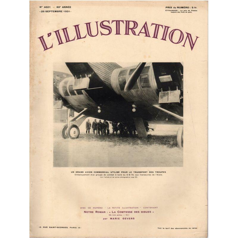 L'Illustration n° 4621 - 26 septembre 1931 - Un grand avion commercial utilisé pour le transport des troupes